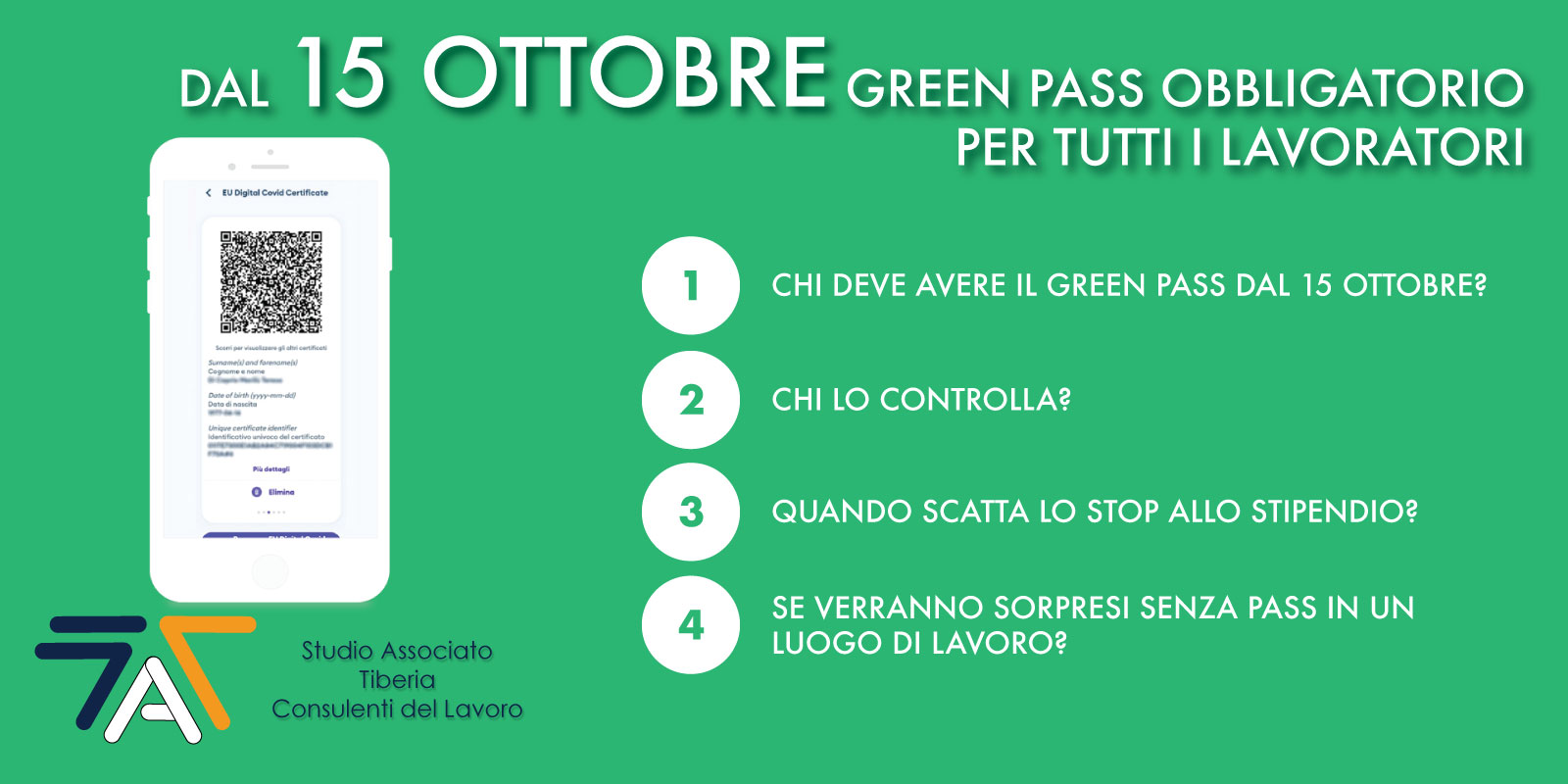 You are currently viewing Dal 15 ottobre GREEN PASS obbligatorio per tutti i lavoratori
